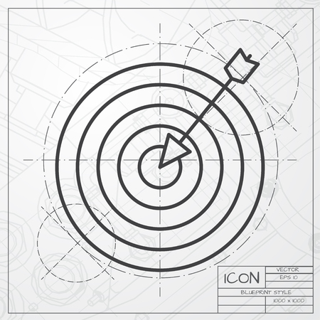 target: Vector blueprint of target icon on engineer or architect background Illustration
