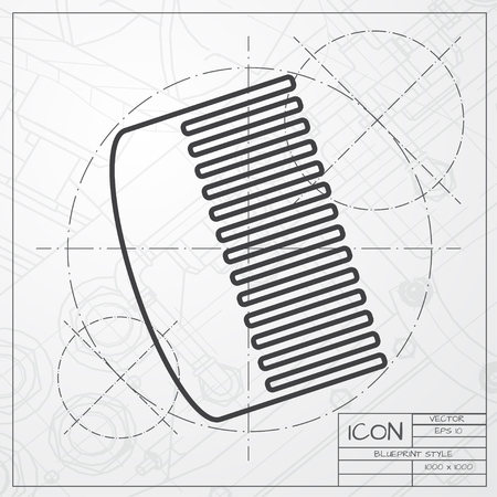 personal grooming: Vector blueprint of hairbrush icon on engineer or architect background Illustration