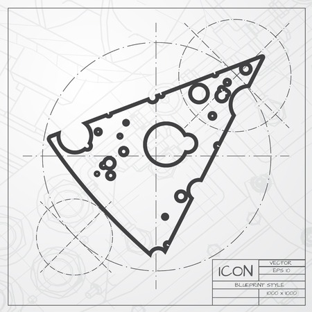 slab: Vector blueprint of slab of cheese icon on engineer or architect background