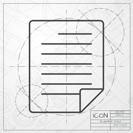 ruler: Vector blueprint of ruler icon on engineer or architect background