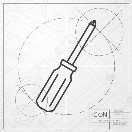 phillips: Vector blueprint of phillips screwdriver icon on engineer or architect background