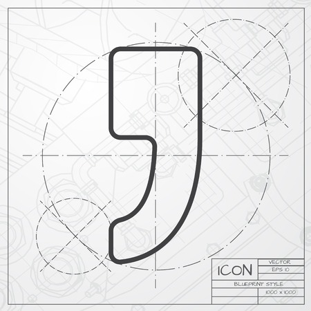 comma: Vector blueprint of comma icon on engineer or architect background