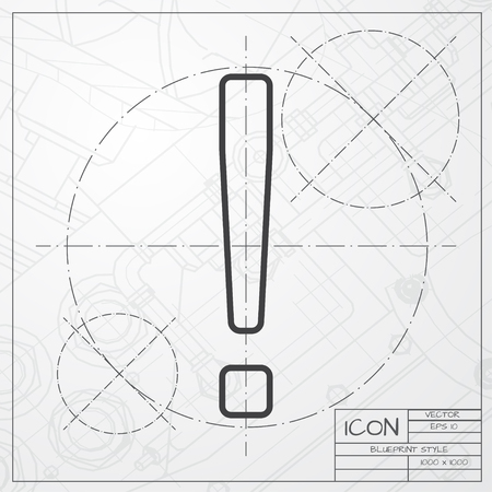 emphasis: Vector blueprint of exclamation mark icon on engineer or architect background