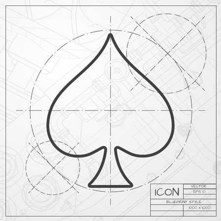 gamblers: Vector blueprint of game spade icon on engineer or architect background