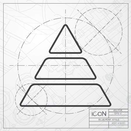 picto: Vector blueprint of pyramid icon on engineer or architect background