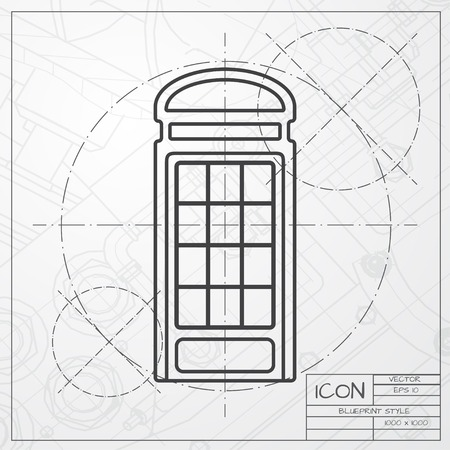 estereotipos: Vector blueprint of telephone box icon on engineer or architect background Vectores