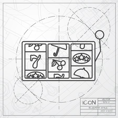 lever arm: Vector blueprint of slot icon on engineer or architect background. Casino icon