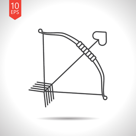 longbow: Vector gray amour arrow icon on white background