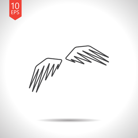 wings icon: Vector gray wings icon on white background