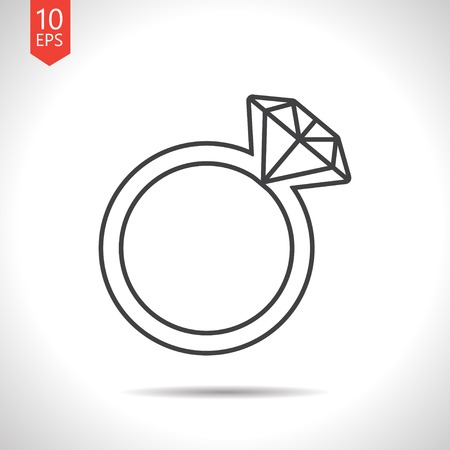 bijou: Vector gray wedding ring icon on white background