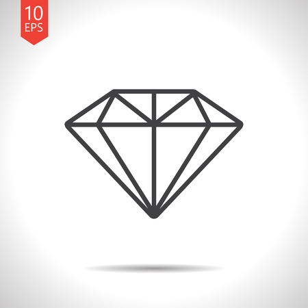 Vector gray diamond icon on white background