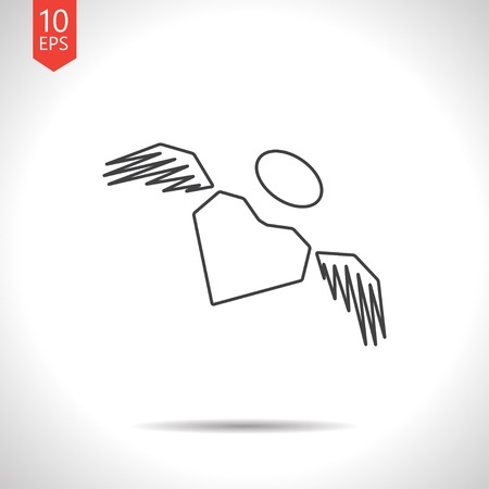 wings icon: Vector gray heart with wings icon on white background
