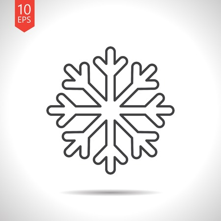 lightweight ornaments: Vector gray snowflake icon on white background Illustration