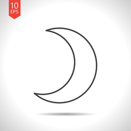 afterglow: Vector gray moon icon on white background