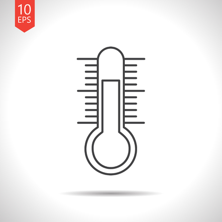 meteo: Vector gray thermometer icon on white background Illustration
