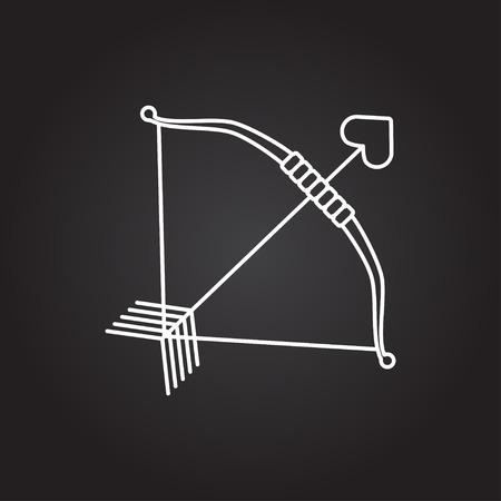 longbow: Vector white amour arrow icon on dark background Illustration