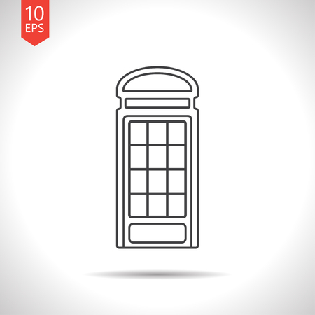 telephone box: Vector gray telephone box icon on white background Illustration
