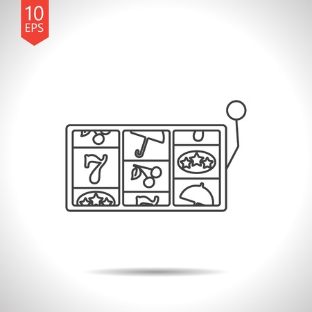 lever arm: Vector gray slot icon on white background. Casino icon