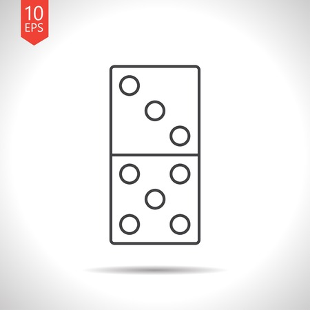 gambling stone: Vector gray domino icon on white background Illustration