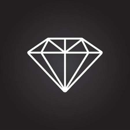 Vector white diamond icon on dark background Illustration