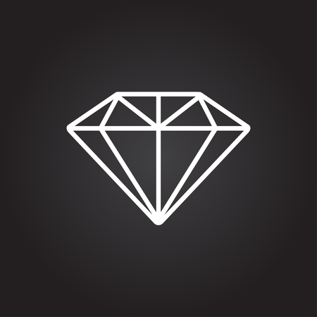 Vector white diamond icon on dark background Ilustrace