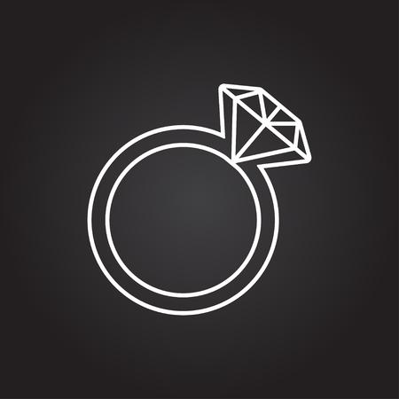 fiance: Vector white wedding ring icon on dark background Illustration