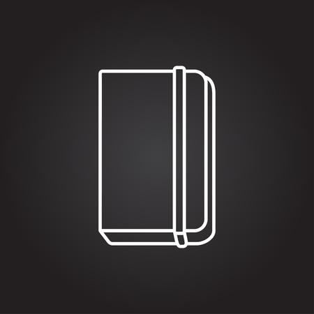 periodicals: Vector white book icon on dark background Illustration