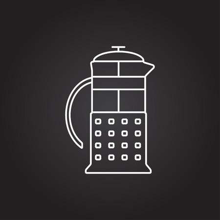 masher: Vector white franch press icon on dark background Illustration
