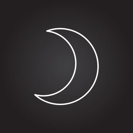 afterglow: Vector white moon icon on dark background