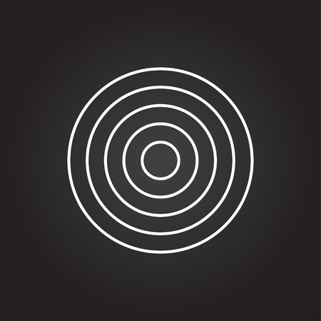 advantages: Vector white target icon on dark background