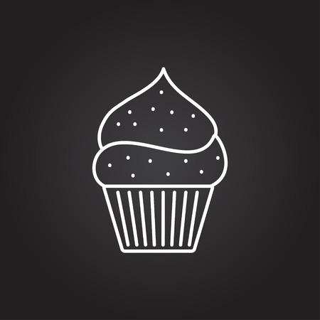 cocina caricatura: Vector blanco de la magdalena con el icono de la cereza sobre fondo oscuro