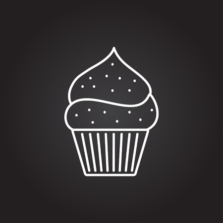 cartoon berries: Vector white cupcake with cherry icon on dark background