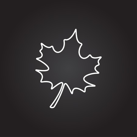 dark background: Vector white maple leaf icon on dark background