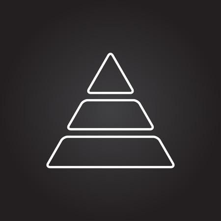 picto: Vector white pyramid icon on dark background Illustration
