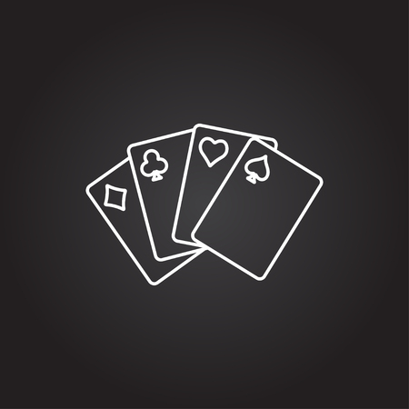 game cards: Vector white game cards icon on dark background