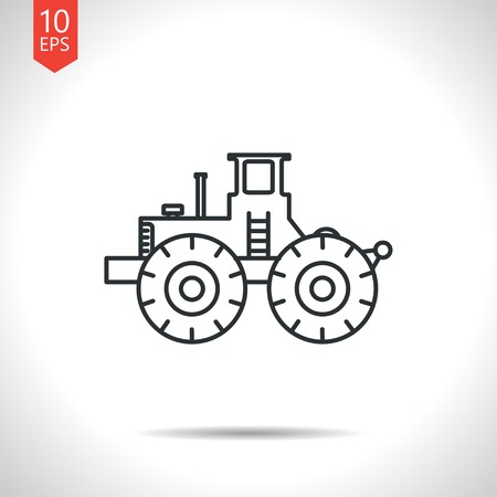 road construction: Vector outline classic grey heavy machine icon on white background