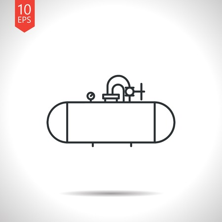 cistern: Vector outline classic grey cistern icon on white background Illustration