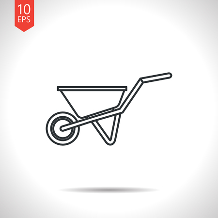 barrow: Vector outline classic grey barrow icon on white background