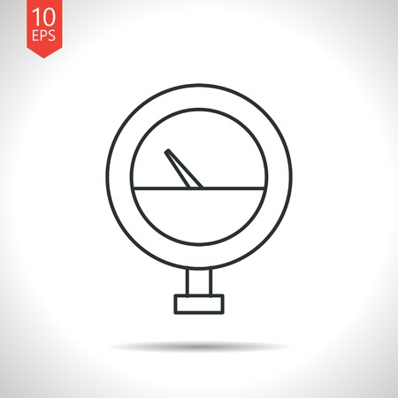 manometer: Vector outline classic grey manometer icon on white background