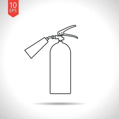 firealarm: Vector outline classic grey fire extinguisher icon on white background