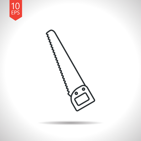 crosscut: Vector outline classic grey saw icon on white background . Industrial equipment Illustration