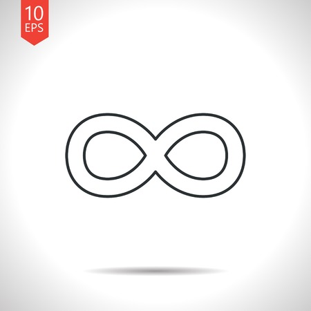 infinity icon: Vector outline classic grey infinity icon on white background