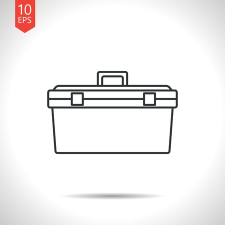 toolkit: Vector outline classic grey toolkit icon on white background . Industrial equipment