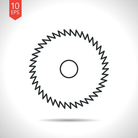 cutoff blade: Vector outline classic grey circular saw icon on white background
