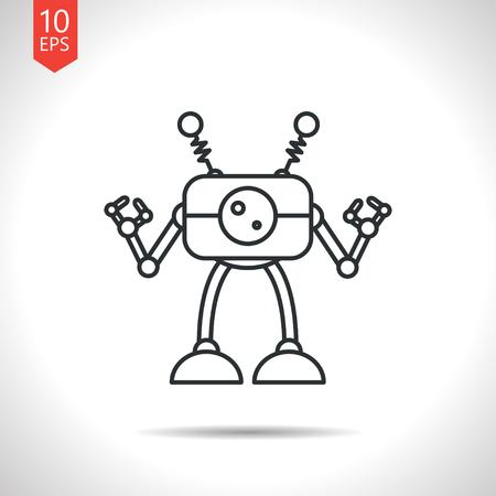retro robot: Vector outline classic grey retro robot toy icon on white background