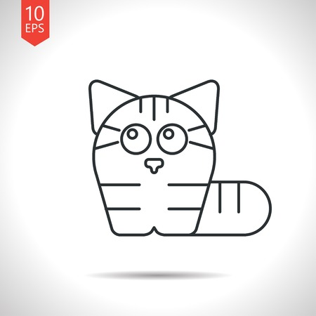 grey cat: Vector outline classic grey cat icon on white background