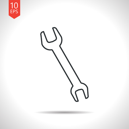 adjustable: Vector outline classic grey adjustable wrench icon on white background