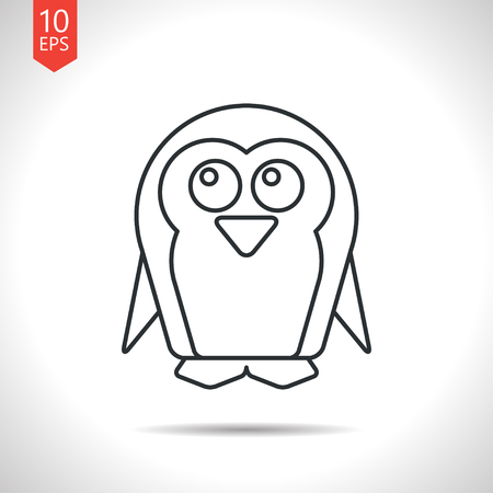 flightless: Vector outline classic grey penguin icon on white background