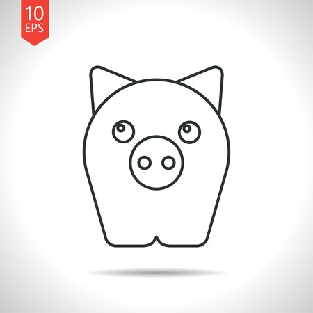 oink: Vector outline classic grey pig icon on white background