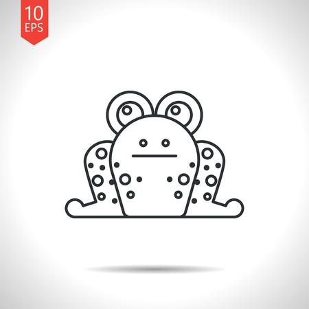 rana: Vector esquema cl�sico icono de la rana gris sobre fondo blanco